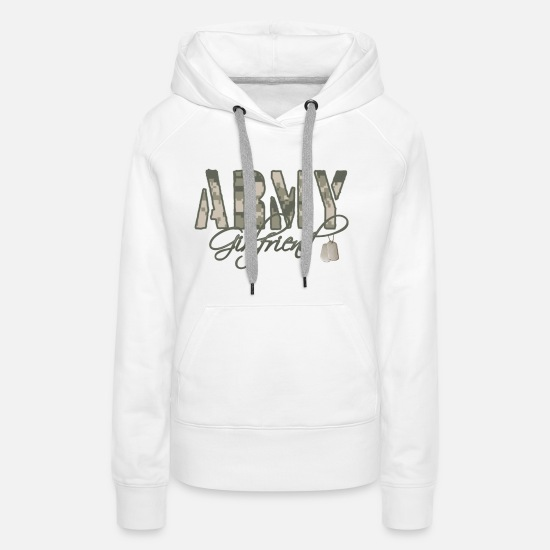 Girlfriend Hoodies & Sweatshirts - Army Girlfriend- Dog Tags - Women's Premium Hoodie white