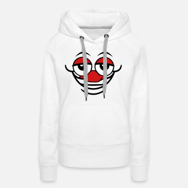 Comics crazy clown face grin funny comic head eyes nose m - Women's Premium Hoodie