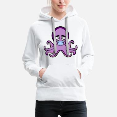 Sad Cute Little Baby Octopus - Women's Premium Hoodie