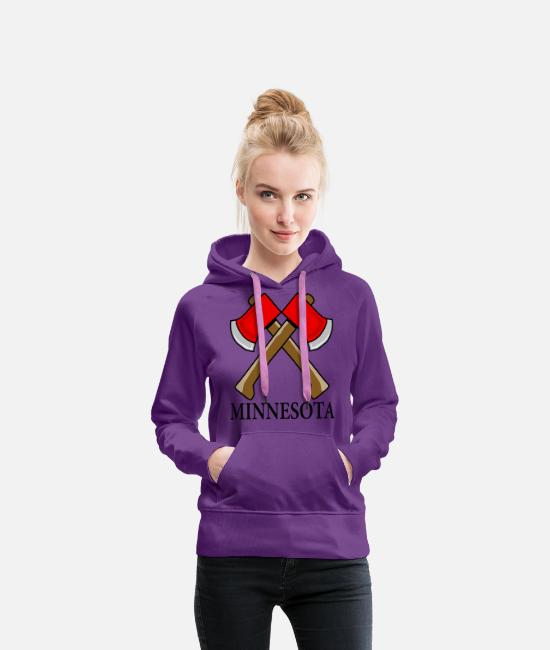 Funny Minnesota Hoodies & Sweatshirts - Hatchet Minnesota - Women's Premium Hoodie purple