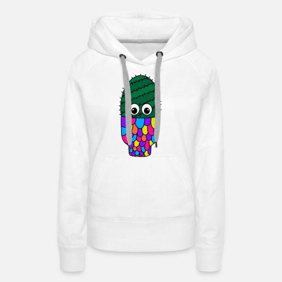 Cactus Hoodies & Sweatshirts - Spiral Cactus In Colorful Pot - Women's Premium Hoodie white
