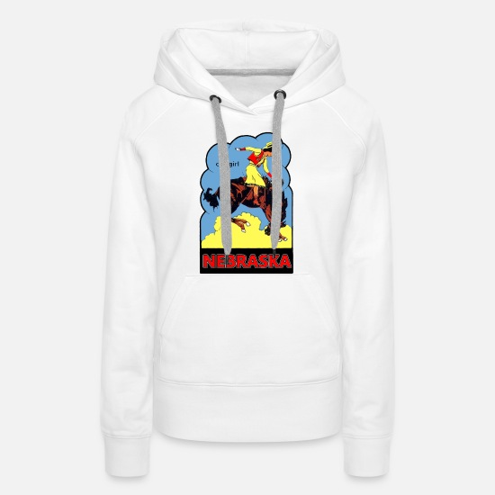 Horse Hoodies & Sweatshirts - Nebraska Cowgirl Vintage Travel Sticker - Women's Premium Hoodie white