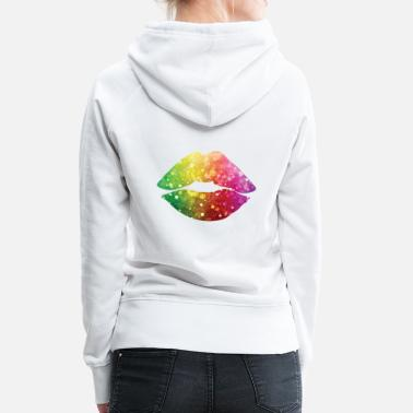 Red Lips Colorful Lips / Bunte Lippen - Women's Premium Hoodie