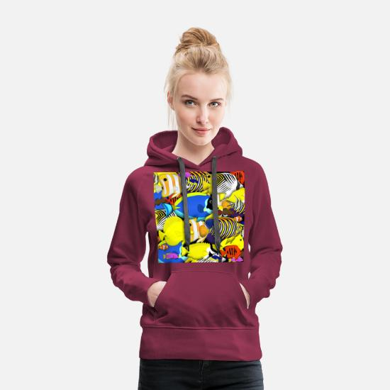 Reef Hoodies & Sweatshirts - beautiful fishes - Women's Premium Hoodie burgundy