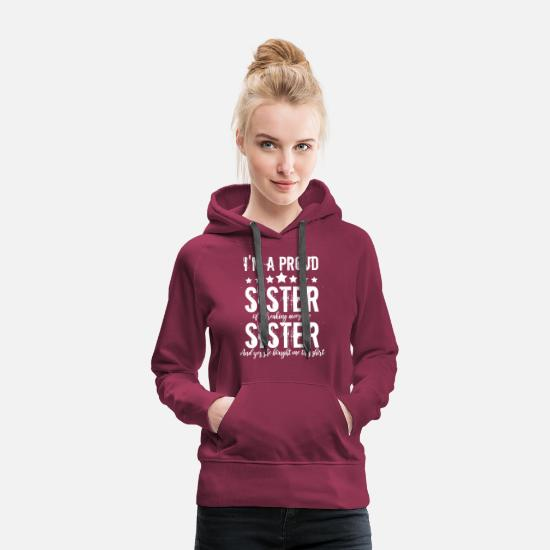 Little Sister Hoodies & Sweatshirts - Funny crazy little big sister brother gift - Women's Premium Hoodie burgundy