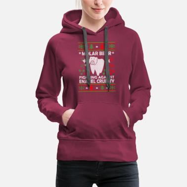 Ugly Christmas Molar Bear Ugly Christmas Sweater - Women's Premium Hoodie