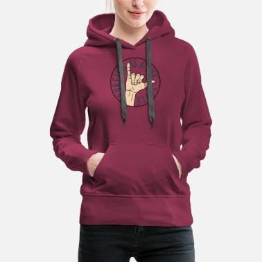 Hang Vintage Surf Shaka Hand Sign Surfing Wave - Women's Premium Hoodie