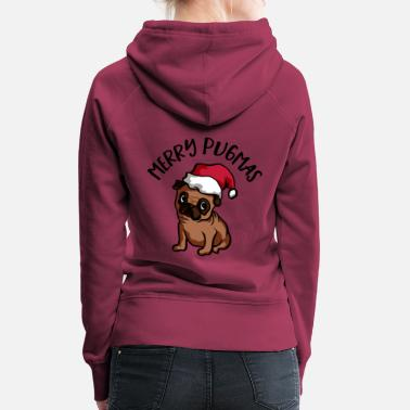 Merry Merry Pugmas Dog with Christmas Hat - Women's Premium Hoodie
