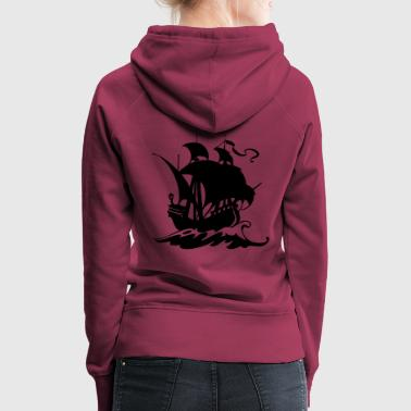 Pirate ship silhuette 2 - Women's Premium Hoodie