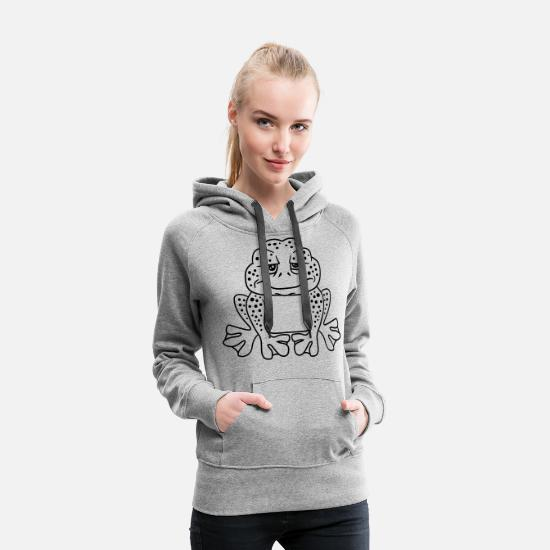 Sad Hoodies & Sweatshirts - unhappy sad sitting frog head toad big mouth face - Women's Premium Hoodie heather gray