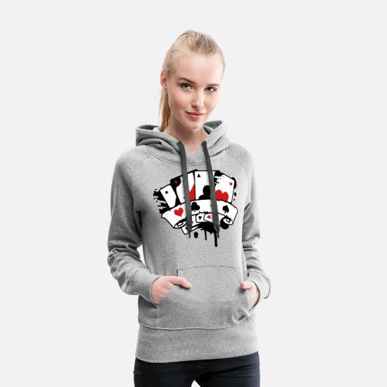 Card Hoodies & Sweatshirts - four playing cards and a banner - Women's Premium Hoodie heather gray