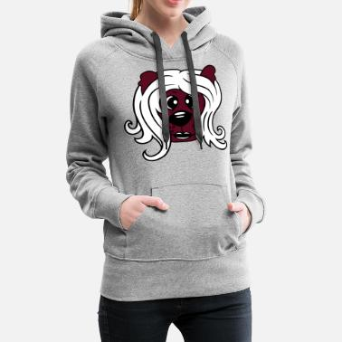 Brown Bear face head girl woman female long hair nice pretty - Women's Premium Hoodie