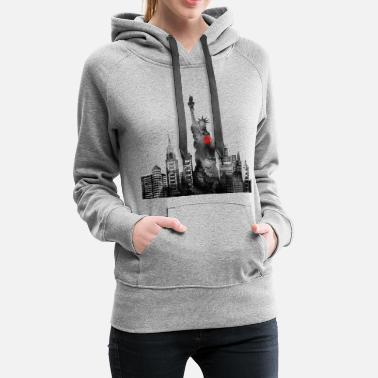 Ny Skyline of New York Statue of Liberty - Women's Premium Hoodie
