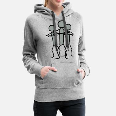 Cheerful Madness team 3 friends crew stickman offended arms cross c - Women's Premium Hoodie