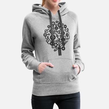 Cog Cog Tree - Nature Graphic Made from Cogs - Women's Premium Hoodie