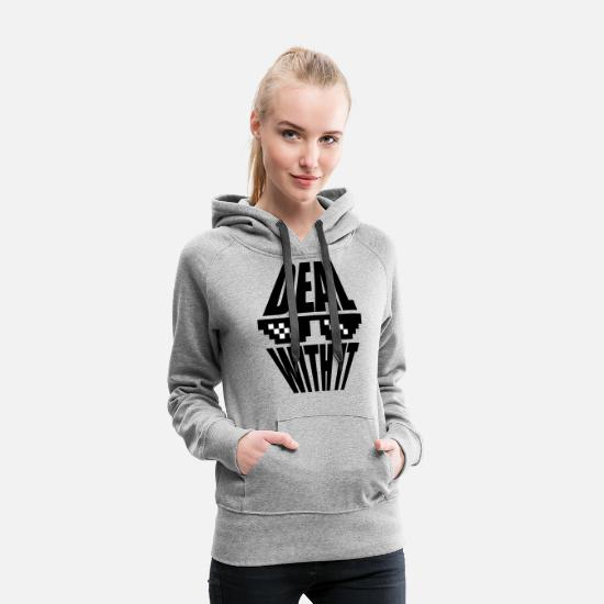 Text Hoodies & Sweatshirts - sunglasses pixel saying cool text deal with it rel - Women's Premium Hoodie heather gray