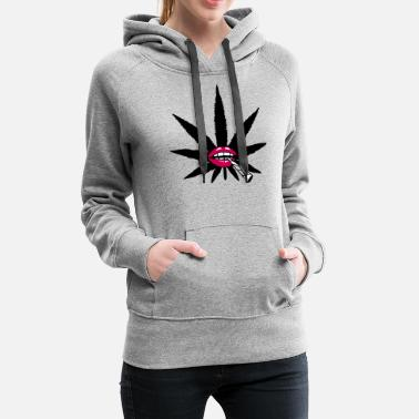 Mouth woman female girl mouth lips logo hemp weed cannab - Women's Premium Hoodie