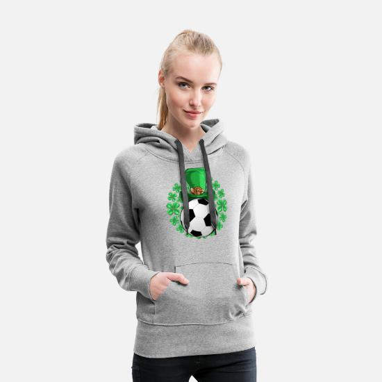 Birthday Hoodies & Sweatshirts - Soccer Saint Patricks Day - Women's Premium Hoodie heather gray
