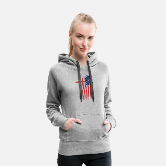 Christ Hoodies & Sweatshirts - Jesus and America Gift Idea Shirt - Women's Premium Hoodie heather gray