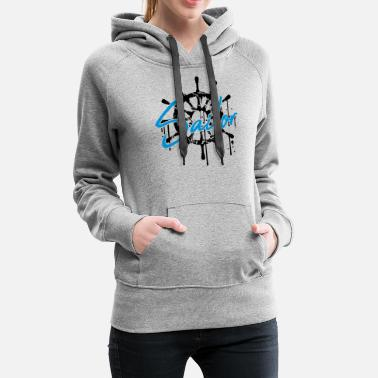 Yachts sailor sailor logo wet drop graffiti cracks scratc - Women's Premium Hoodie