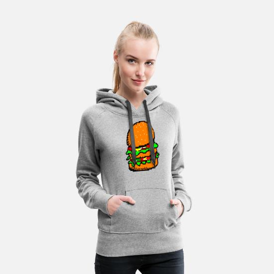 Art Hoodies & Sweatshirts - Ascii Pixel Burger - Women's Premium Hoodie heather gray