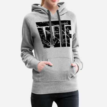 Cool Christian wtf scratch cracks text cool letters logo what the - Women's Premium Hoodie