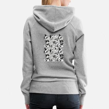Aggressive Doodles get crazy when posing for a pattern design - Women's Premium Hoodie