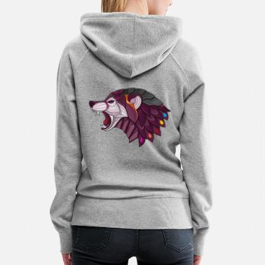 Zen Wolf, Zen, Adult Coloring, Animal, Beast - Women's Premium Hoodie