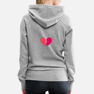 Broken Heart Pink Red Fuchsia - Women's Premium Hoodie