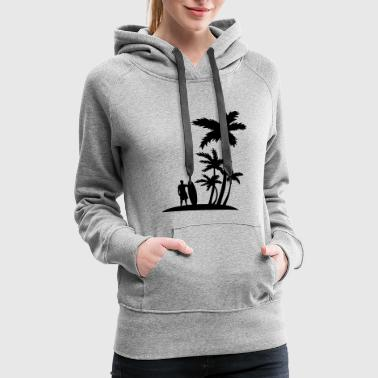 Surfer and palm trees - Women's Premium Hoodie