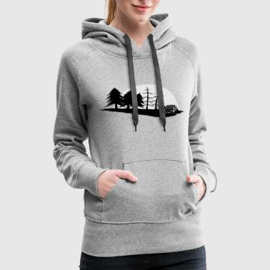 pine tree forester woodworker sawmill moon gift - Women's Premium Hoodie