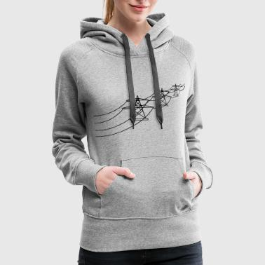 many road electricity mast power pole electrical l - Women's Premium Hoodie