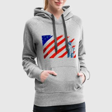 Statue of Liberty & American Flag - Women's Premium Hoodie