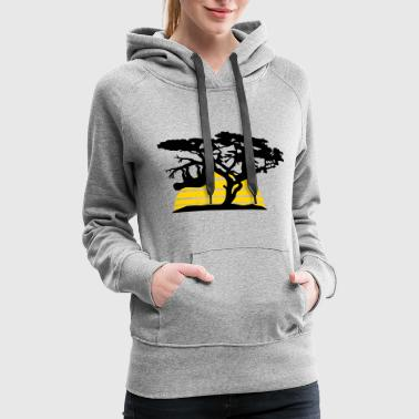 sun stripes africa silhouette tree bough head over - Women's Premium Hoodie