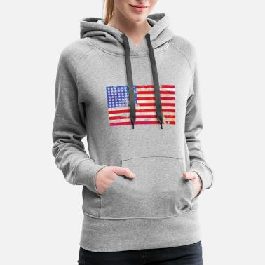 Stars And Stripes Grunge Stars and Stripes - Women's Premium Hoodie