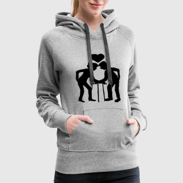 heart man grandfather grandfather couple love in l - Women's Premium Hoodie