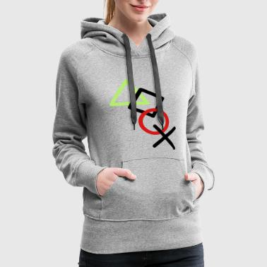 X square triangle icons controller game circle log - Women's Premium Hoodie