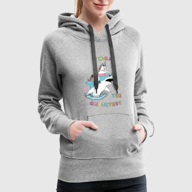 Yoga Is The Greatest Unicorn Riding Shark - Women's Premium Hoodie