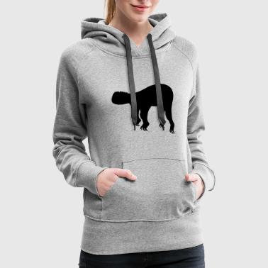 silhouette black outline sloth relax tired chill h - Women's Premium Hoodie
