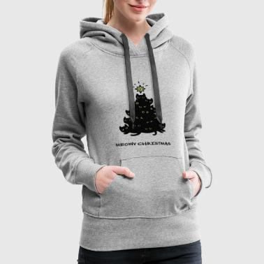 Merry Meowy Christmas Tree Cat - Women's Premium Hoodie