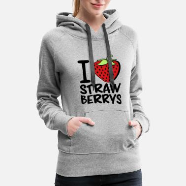 Formal strawberry shape love heart i love strawberry frui - Women's Premium Hoodie