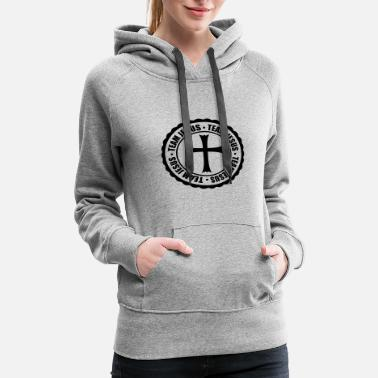 Circle stamp circle round team church symbol cross jesus - Women's Premium Hoodie
