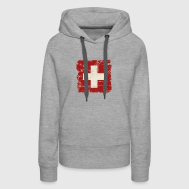 Swiss Flag - Vintage Look - Women's Premium Hoodie