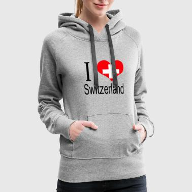 I Love Switzerland Heart Country europe gift flag - Women's Premium Hoodie
