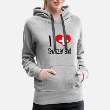 Switzerland I Love Switzerland Heart Country europe gift flag - Women's Premium Hoodie