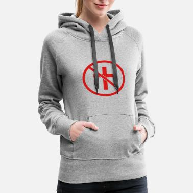 Kreuz zone forbidden sign sign symbol no cross god belie - Women's Premium Hoodie