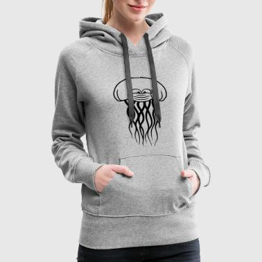 funny face cool beautiful jellyfish swimming under - Women's Premium Hoodie