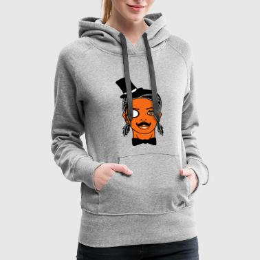 sir mr cylinder rich mustache monocle face cute wo - Women's Premium Hoodie