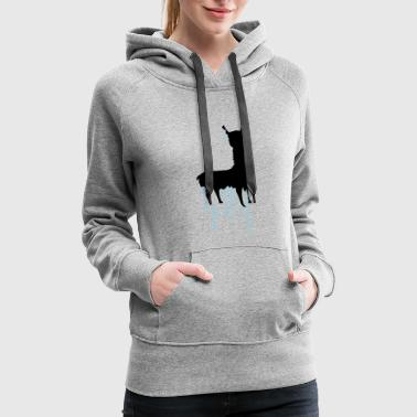 drop graffiti spray silhouette black outline lama - Women's Premium Hoodie