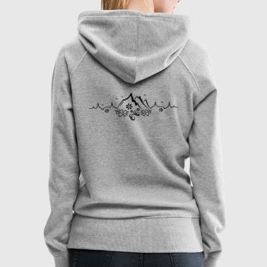 Heartbeat, love for hiking and mountaineering - Women's Premium Hoodie